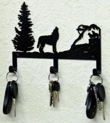 Howling Wolf Rustic Lodge Metal Art Key Holder