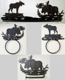 Moose Bathroom Set Rustic Lodge Wildlife Metal Art Decor