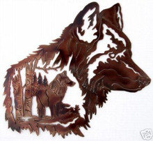 Wolf Grey Wildlife Decor Metal Wall Art