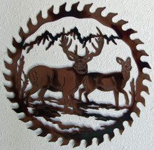 White Tail Deer Saw Blade Metal Wall Art