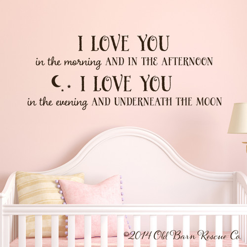 I love you in the morning - wall decal