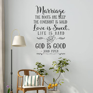 Marriage the roots are deep, Love is Sweet wall decal | Christian Wall Decal | Marriage Quote | Farmhouse Decor