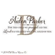 Personalized For this child we prayed - Wall Decal