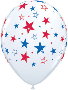 "11"" White Latex Red & Blue Stars 50ct #35498"