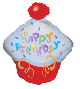 "14"" Happy Birthday Day Cupcake Shape Air Fill Balloon 1ct"
