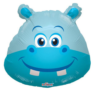 "14"" Hippo Head Mini Shape Foil Balloon 1ct"