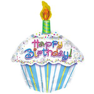 "20"" Happy Birthday  Cupcake Shape Balloon 1pk #414018"