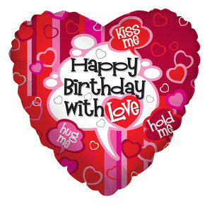 "18"" Birthday With Love Balloons  1ct #17739"