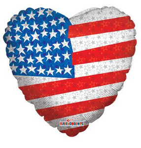 "18"" Patriotic Flag Heart Shape 1ct #87006"