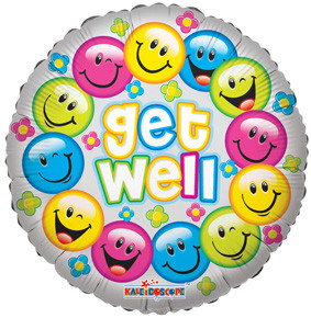 "18"" Get Well Colorful Smiles Helium Foil Balloons #19289 1ct"