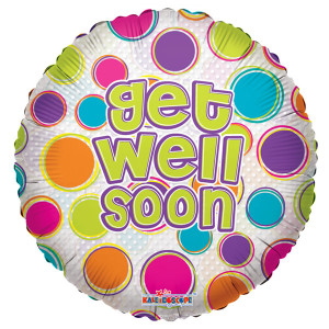 "18"" Get Well Dots Clear View 1ct"