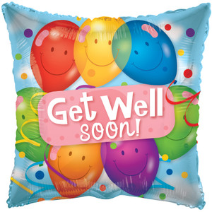 "18"" Get Well With Balloons Square Shape  1ct #19487"
