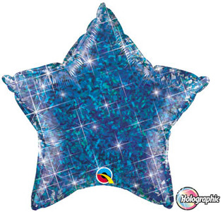 "20"" Qualatex Holographic Blue Star Foil Balloon 1ct #41282"