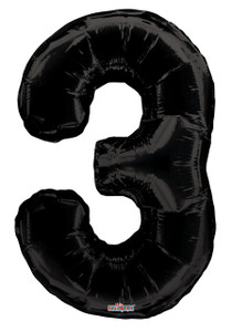 "34"" Large Black # 3 Balloon"