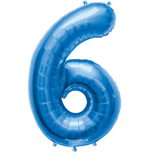 "34"" Large Blue # 6 Balloon"