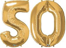 50th Birthday 34 50 Gold Number Foil Balloons