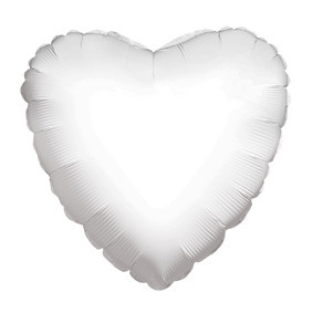 "4"" White Heart Foil Balloon Air Fill Only 1ct #34102-04"
