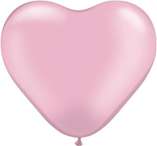 "*Special* 6"" Qualatex Pearl Pink Heart Balloons 100 Bag #17731-6"