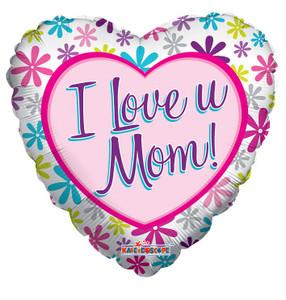 "18"" I Love U Mom Heart Shape Balloon 1ct #84175"