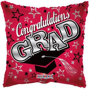 """18"""" Congrats Grad Red Square Balloon 1ct #85173"""