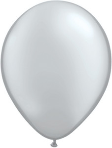 "9"" Qualatex Silver Latex Balloons 100BAG #43707-9"