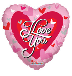 "9"" I Love You Big Hearts Mini 1ct"