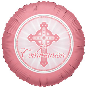 "18"" Commuion Pink Helium Foil Balloons 1ct #17692"