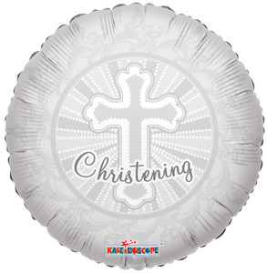 "18"" White Christening Foil Balloon 1ct #19239"