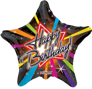 "9"" Mini Birthday Rock Star Air Fill Stick Balloons"