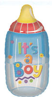 "28"" Jumbo Baby Boy Bottle Helium Foil Balloon 1ct  #17498"