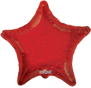 "22"" Holographic Red Star Foil Balloon 1ct #17686-22"
