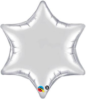 6 point silver star balloon