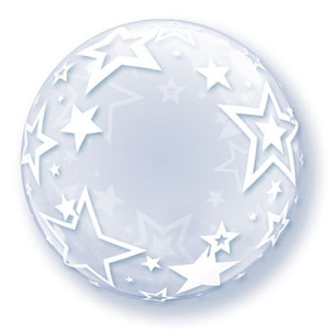 "24"" Clear Deco Bubble Balloon White Stars Around 1pk #42671"