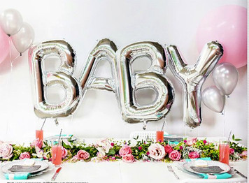 "34"" Large Silver ""BABY"" Balloon Kit- Includes 4 Balloons"