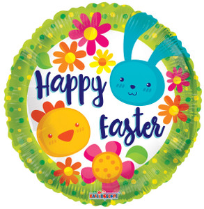 "18"" Happy Easter Bunny Chicks Helium Foil Balloon 1ct #82074"