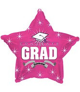 "18"" Hot Pink Star  Graduation Balloon 1ct #814008"