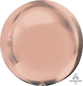 "16"" ORBZ Shiny Rose Gold Spherical Round Balloon (3 Pack) #36181"