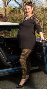 Zebra Print Maternity Leggings - Khaki or Gray