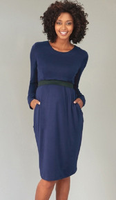 Maternity/Nursing Long Sleeve Banded Dress - Navy or Ivy
