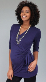 Maternity and Nursing Wrap Top - Twig Brown