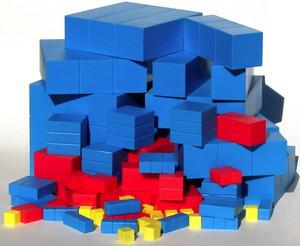 An individual set of Fair Lands™ blocks consists of an individual set of Two Land blocks consisting of 8 unit cubes, 5 longs, 4 flats, 3 super cubes, 3 super longs, 3 super flats, and 1 mega cube (27 blocks total) from 1 cubic centimeter to 4 cubic centimeters by doubling and an individual set of Three Land blocks consisting of 10 unit cubes, 6 longs, 5 flats, 5 super cubes, 5 super longs, 5 super flats, and 1 mega cube (37 blocks total) from 1 cubic centimeter to 9 cubic centimeters by tripling.