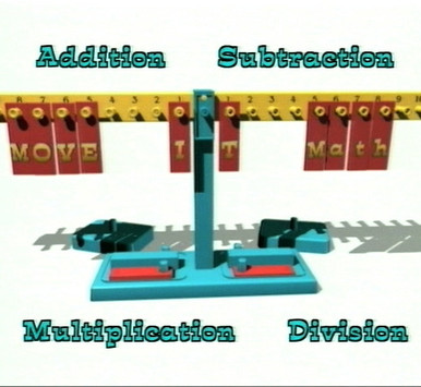 """Models all four arithmetic operations! Made especially for MOVE IT Math™ by ETA hand2mind. Sturdy one-piece double-sided crossbeam with numbers on one side and tracks on the reverse side to hold """"topic"""" strips. Calibration clips that ensure accuracy. Two sets of pre-printed topic strips—one on time, the other on measurement—that fit in the tracks for teaching equivalences such as 30 minutes = ½ hour and 12 inches = 1 foot. One set of blank topic strips for teaching other topics, such as money, fractions, and fraction-decimal-percent equivalences. Twenty 10-gram weights. Two built-in storage compartments to hold the weights. Measures 31 inches long, 4 inches wide, and 10 ½ inches high."""