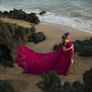 Gianna Full Circle Chiffon Aqua Maternity Dress with convertible top