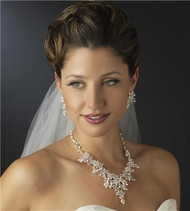 Couture Freshwater Pearl Swarovski Crystal Necklace & Earrings Bridal Jewelry Set WS7186