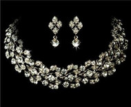 Elegant Swarovski Crystal Bridal Wedding Prom Earrings Necklace Set  WS1022