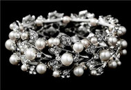 Silver Pearl Swarovski Crystal Fashion Wedding Bridal Prom Bracelet  WB969
