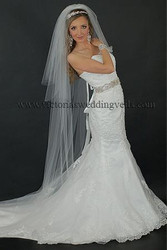 3 Tier Floor Length Wedding Veil Cut Edge N65