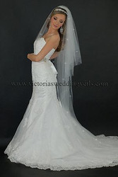 3 Tier Floor Length Wedding Veil Cut Edge Rhinestones N67R
