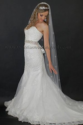 1 Tier Floor Length Wedding Veil Cut Edge Rhinestones N63R