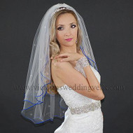 2 Layer Bridal Veil  Royal Blue Cord Rhinestones N25R3